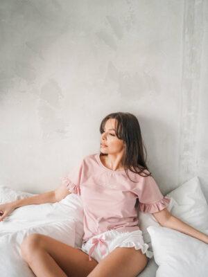 Piżama Magic z koszulką kolorze pudrowego różu i spodenkami ecru