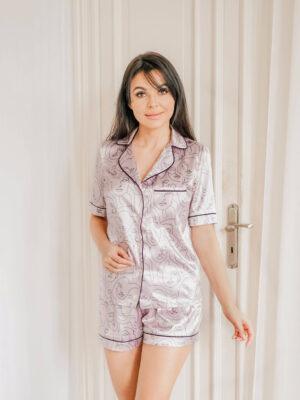 Satynowa piżama wrzosowa w print