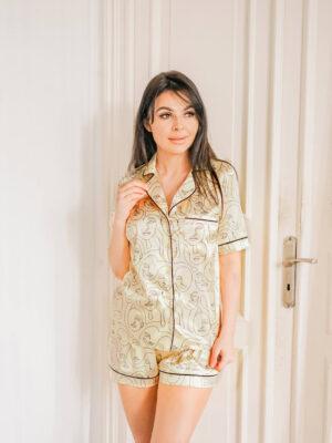 Żółta, satynowa piżama w print SWEET DREAMS
