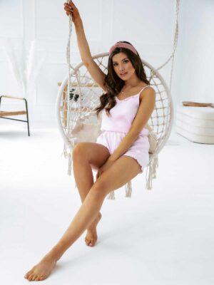Lniana piżama damska HAPPY MOMENTS różowa