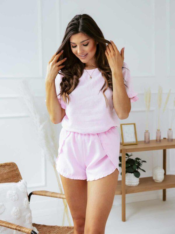 Lniana piżama damska LOOS DAY - różowa
