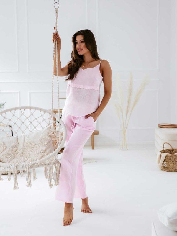 Lniana piżama damska MAGIC DAY różowa