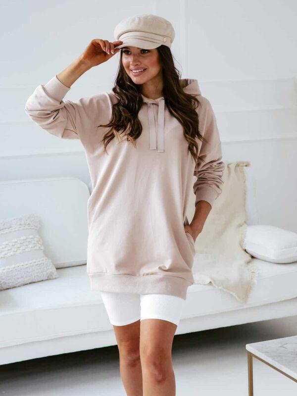 Długa bluza damska ZUZA - beżowa