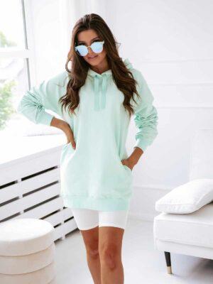 ZUZA - długa bluza damska w miętowym kolorze