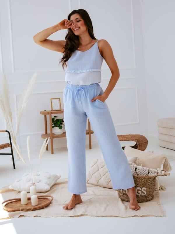 Lniana piżama damska MAGIC DAY błękitna